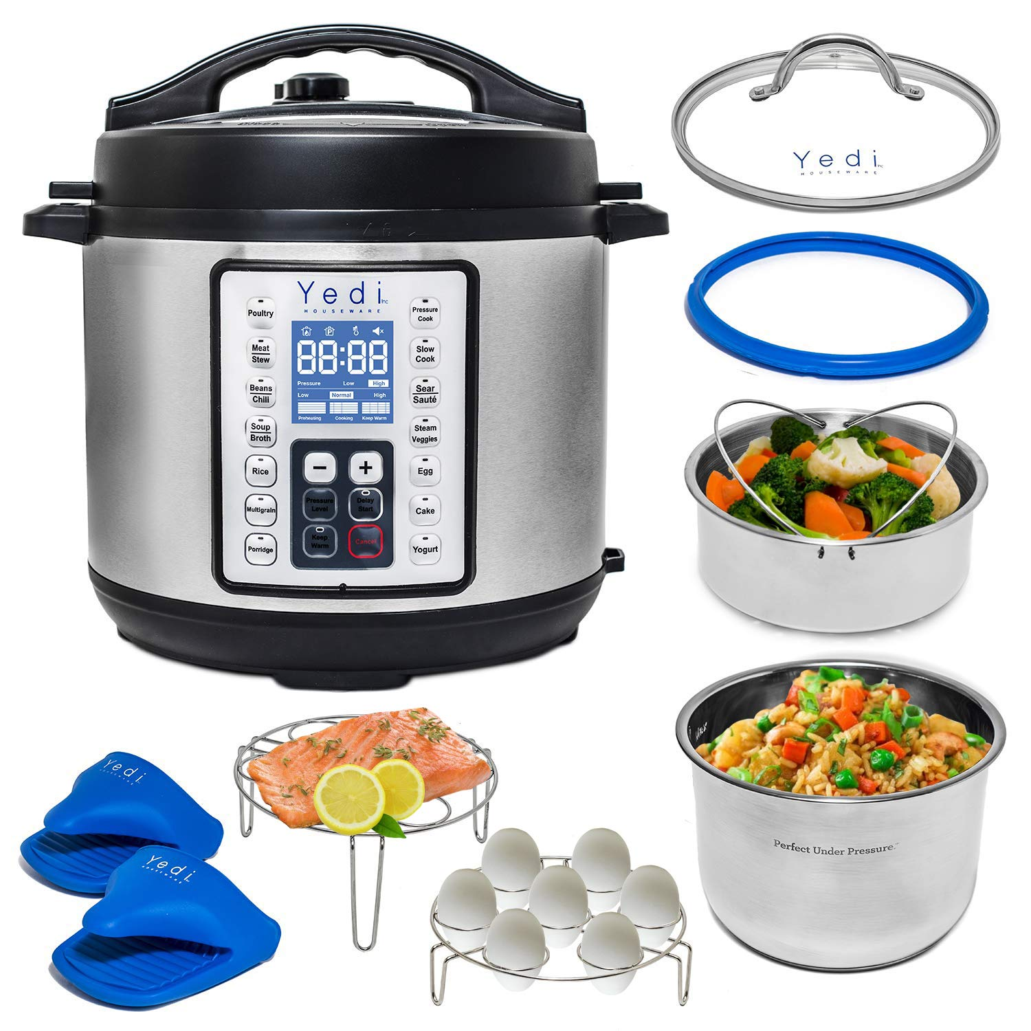 Yedi 9-in-1 Total Package Instant Programmable Pressure Cooker, Slow Cooker, Rice Cooker, Yogurt, Sauté, Steamer. Deluxe Accessory Kit, Recipe Book, Cheat Sheets, 2-Year Warranty, 6 Quart. by Yedi Houseware