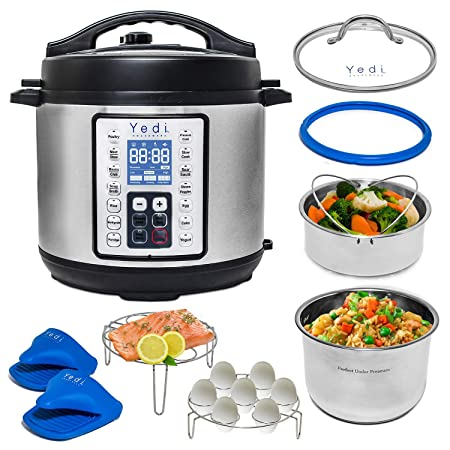 Yedi 9-in-1 Total Package Instant Programmable Pressure Cooker, Slow Cooker, Rice Cooker, Yogurt, Saut , Steamer. Deluxe Accessory Kit, Recipe Book, Cheat Sheets, 2-Year Warranty, 6 Quart.