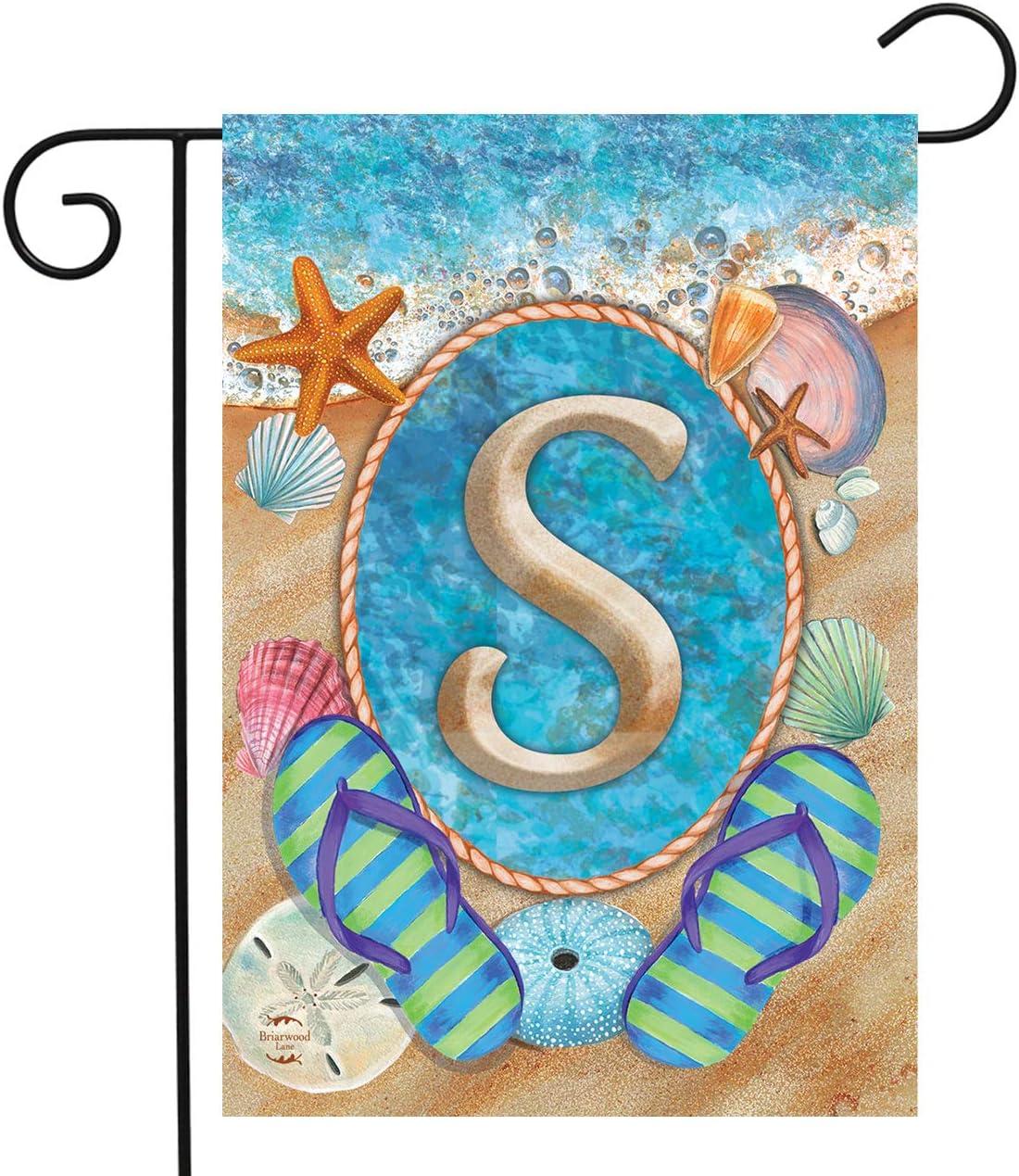 """Briarwood Lane Summer Monogram Letter S Garden Flag Flip Flops Seashells 12.5"""" x 18"""""""