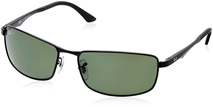 Ray-Ban Men\u0026#39;s RB3498 Rectangular Sunglasses, Black \u0026amp; Green, ...