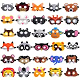 30 Pieces Felt Animal Masks for Kids Jungle Theme Party Favors Supplies