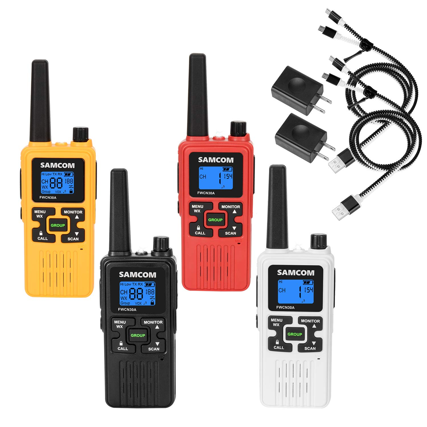 FRS Two Way Radio 22CH with 1250mAh Rechargeable Battery LCD Display LED Flashlight, License Free Walkie Talkies 36 Miles Long Range with Group VOX SCAN NOAA Call Alert Function, 4 Packs by SAMCOM