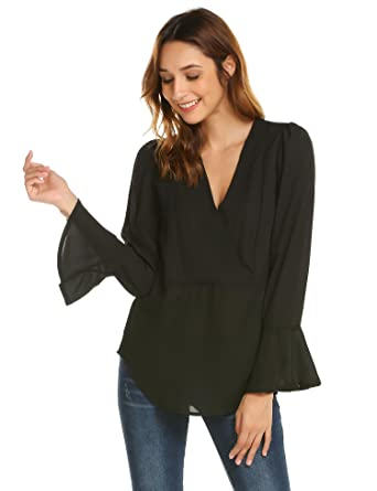 13a1714327af2a Concep Long Bell Sleeve V Neck Blouse Woman Loose Summer Chiffon Top  Fashion Shirt (Black