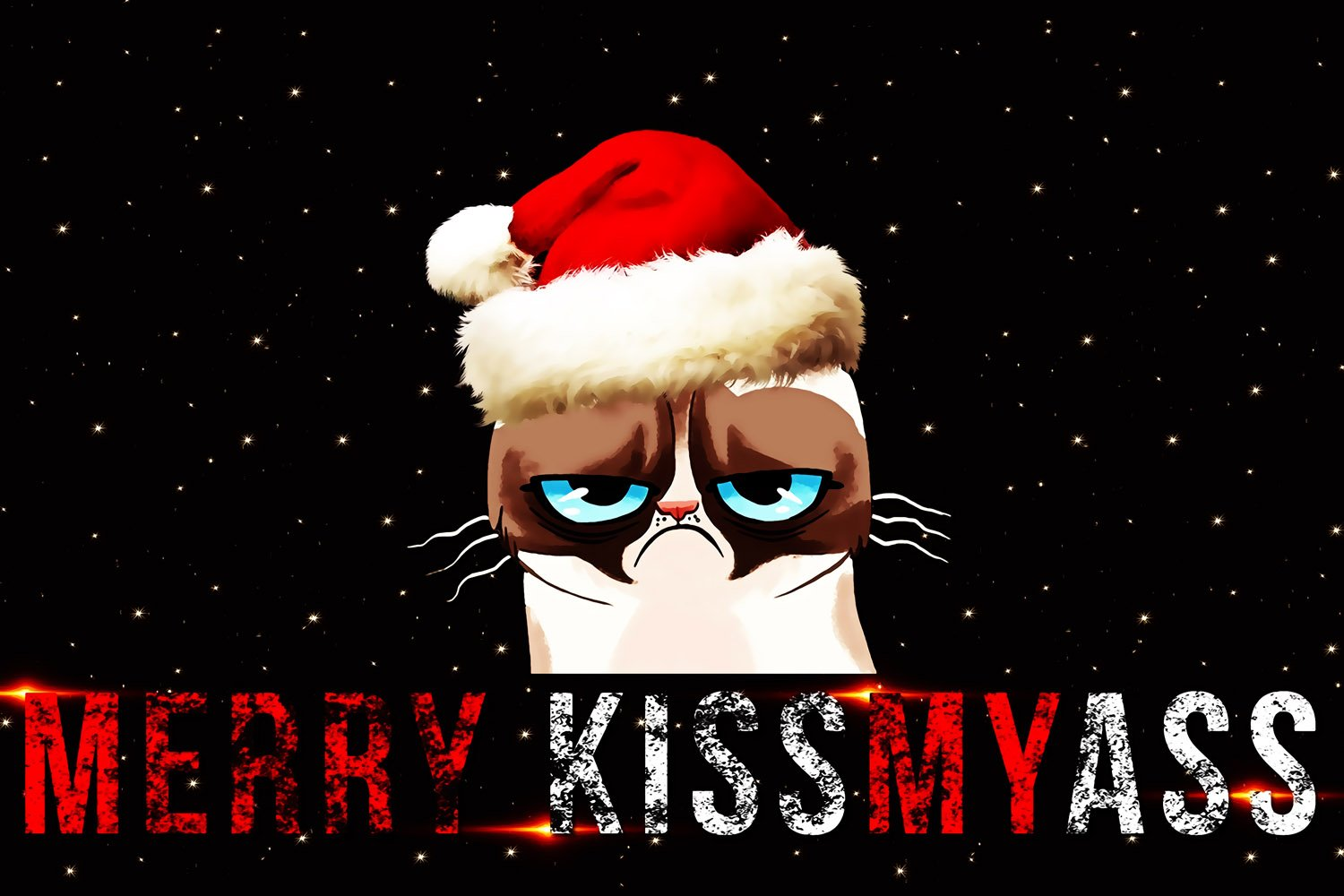 Grumpy Cat Quotes Merry Christmas Funny Prank Poster 24x36
