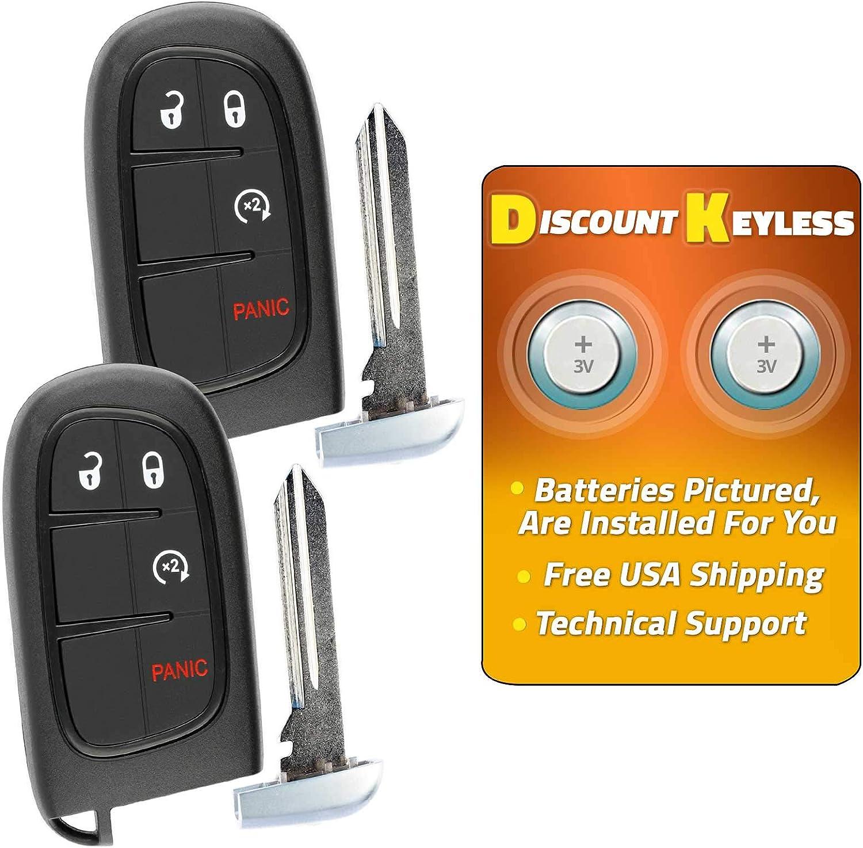 2 Key fits Ram 2013 2014 2015 2016 2017 2018 Smart Keyless Entry Remote Fob GQ4-54T