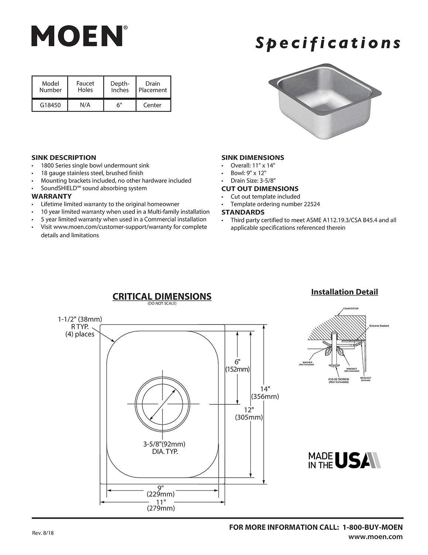 Moen G18450 18 Gauge Single Bowl Undermount Sink 1