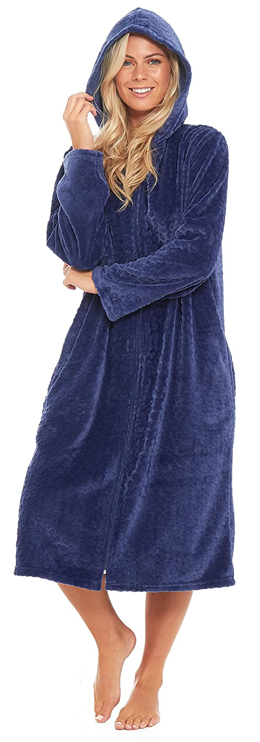 Slumber Hut® Ladies Fleece Dressing Gown with Snuggle Hood - Luxury Fully Zipped Long Length Robe Blue Maroon - Size UK 10 up to 20