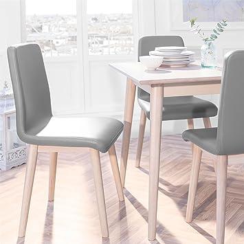reputable site 0512e 424ec Edvard Olsen Oak Dining Chair (grey faux leather) -LIGHT OAK ...