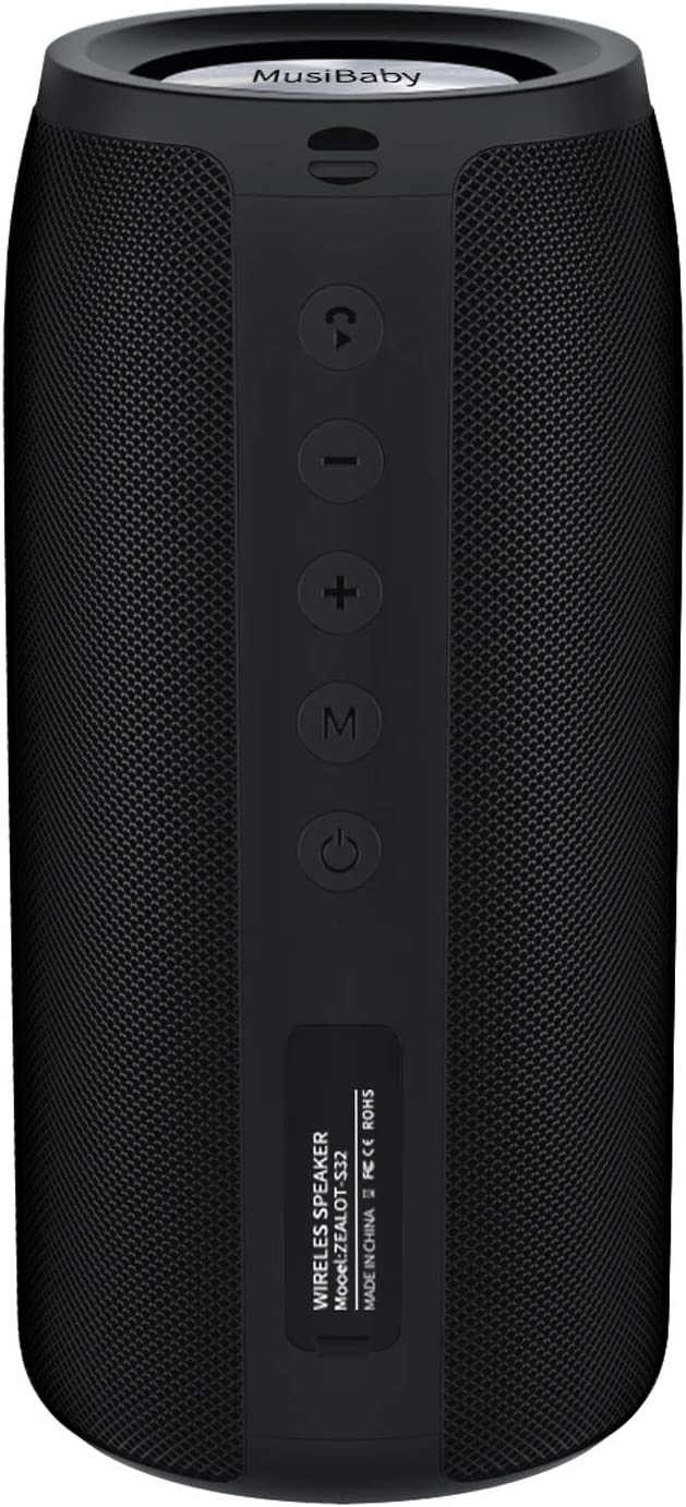 Bluetooth Speaker, MusiBaby M88 Speaker,Loud,Outdoor, Portable,Waterproof,Wireless Speakers,Dual Pairing, Bluetooth 5.0,Loud Stereo,Booming Bass,30H Playtime for Home Party,Backyard,Travel,Pool(Black)