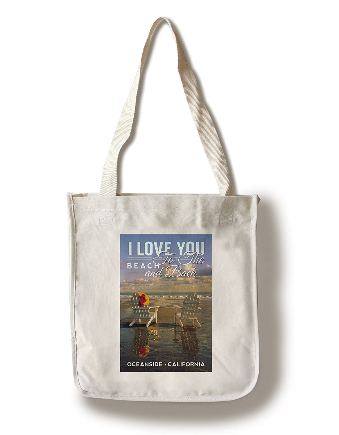 オーシャンサイド、カリフォルニア – アディロンダック椅子 – I Love You To The Beach and Back Canvas Tote Bag LANT-80904-TT B072PZ8RPF  Canvas Tote Bag