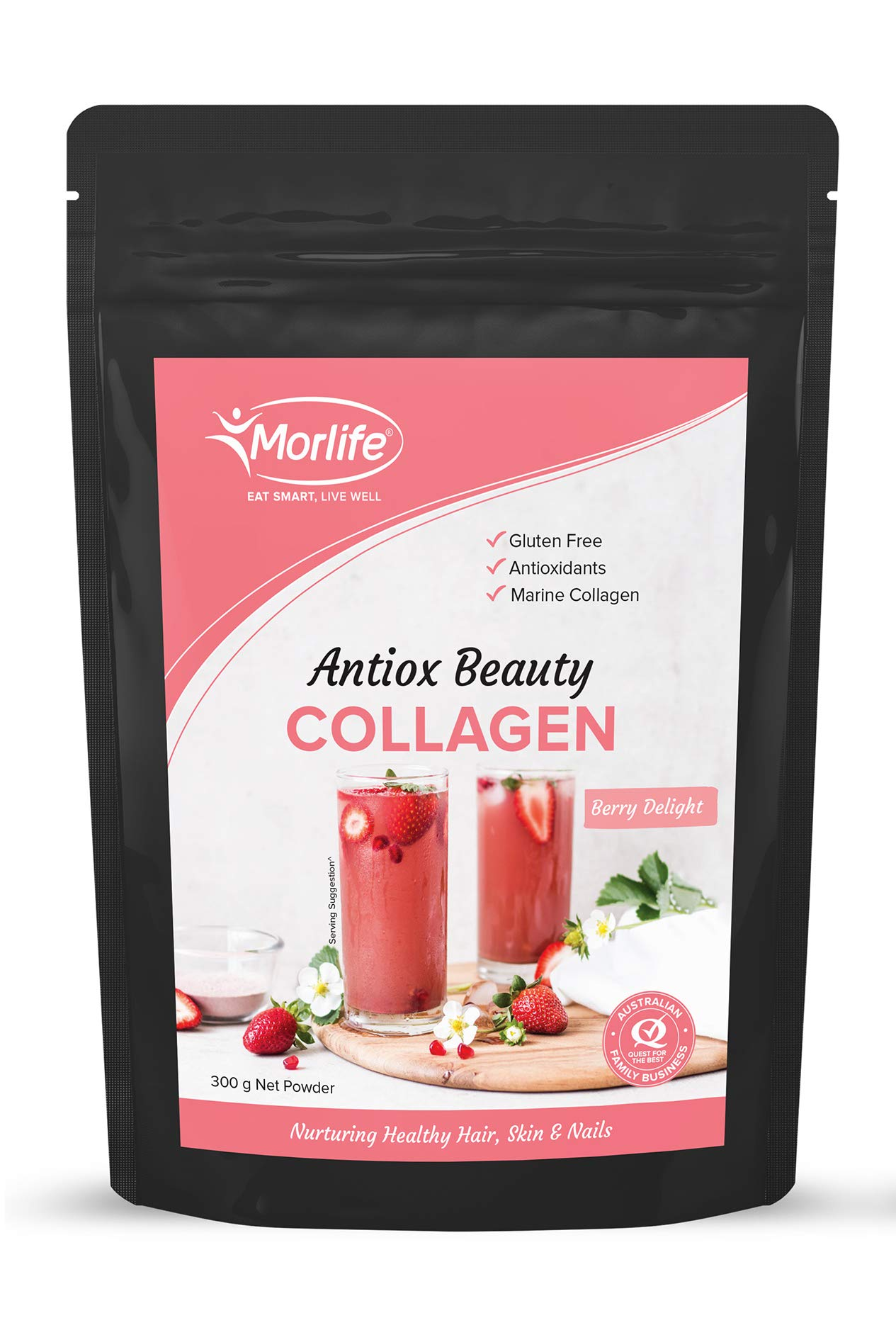 Morlife Antiox Beauty Collagen Powder 300g - Berry Delight | Skin Supplements | Marine Collagen with Antioxidants | Hydrolyzed Collagen Supplements | Super Collagen Hydrolysate Peptides | 27 Servings by Morlife