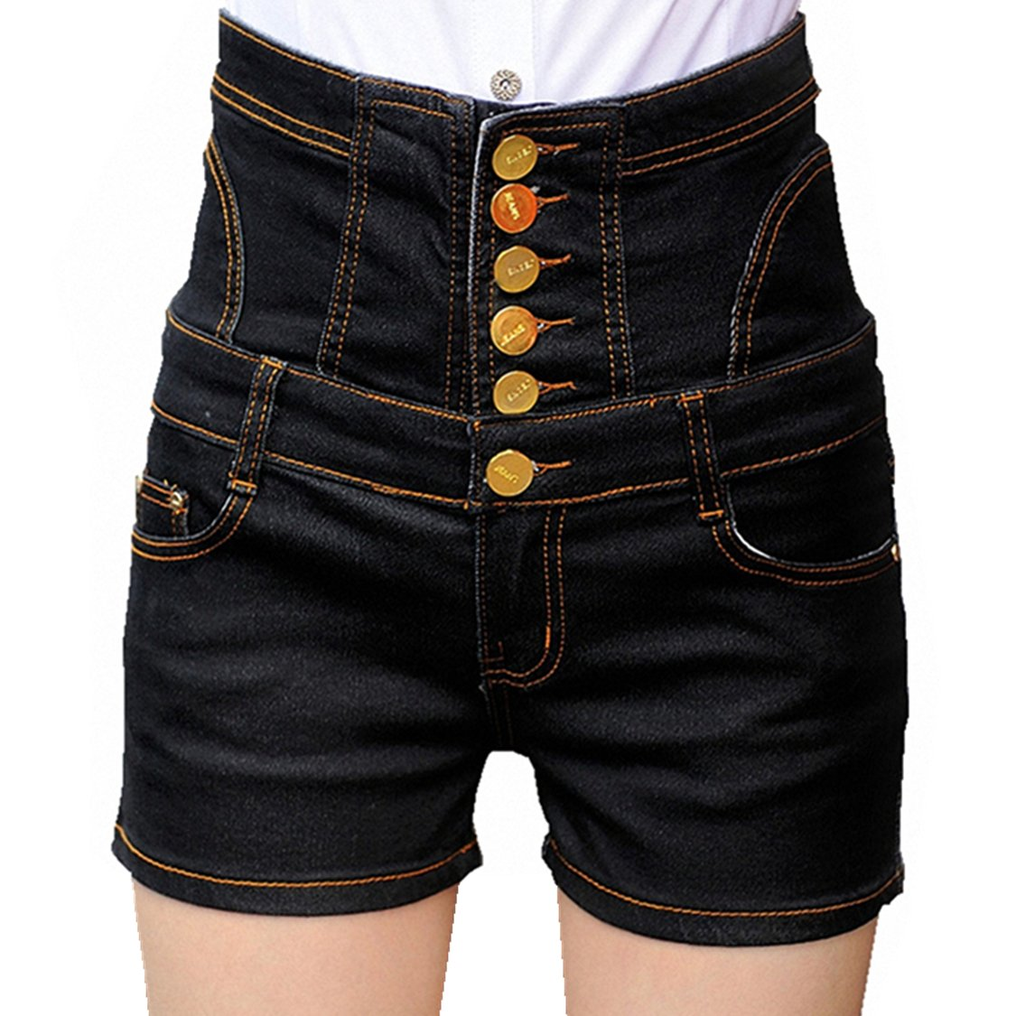 CrazyPomelo Womens Vintage High-Waisted Bandage Back Skinny Denim Shorts