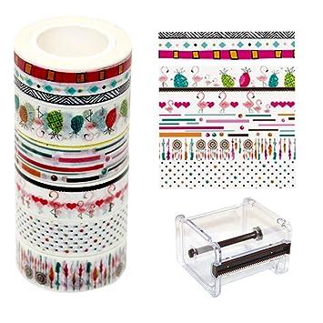 Ewparts 6 Rollos Sticky Adhesive Masking Tape Cinta Decorativa Washi, con dispensador / cortador de