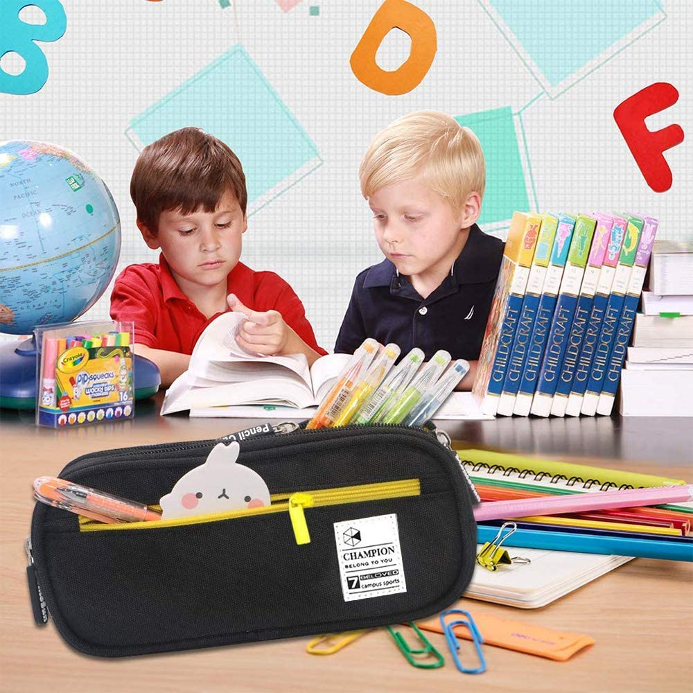 YumSur Pencil Case Big Capacity Storage Pen Case Bag Pouch Holder Desk Pen Pencil Marker Stationery Organizer Pencil Pouch with Zipper for School /& Office Red