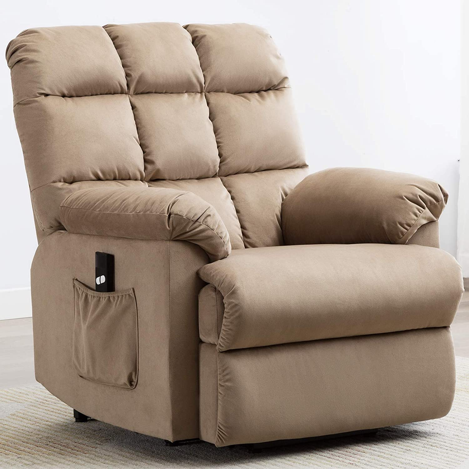 ANJ Power Lift Recliner Chair Safety Motion Reclining Chair for Elderly - Heavy Duty Fabric Overstuffed Sofa for Living Room with Side Pocket (Mocha)