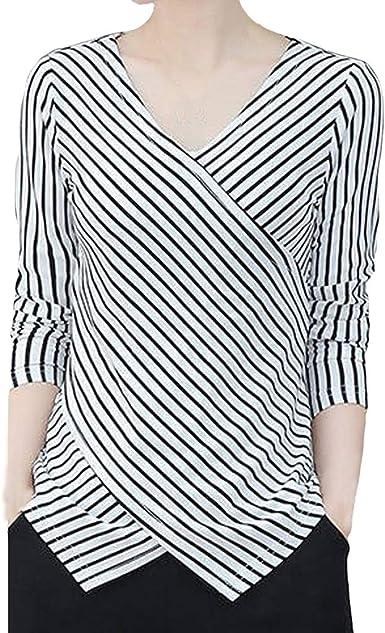 Blusa de Mujer Tunica Camisa de irregularidad de Manga Larga ...