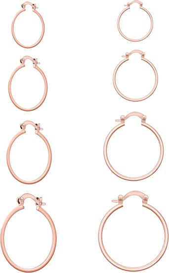 TIFMOCO Earrings Hoop,Small Hoop Earrings 4 Pairs Cartilage Cooper Hoop Earrings Set for Women Men Girls