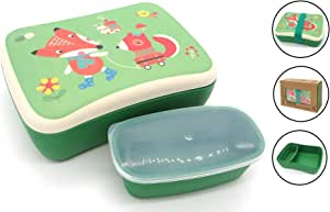 Fiambrera de Bambu Infantil - Pack Tuper y Sandwichera de Fibra de Bambú - Material Ecologico, Reciclable, Biodegradable y Ligero - Apto para Lavavajillas - Lonchera Eco, Bio, Sin BPA - Ideal niños: Amazon.es: Hogar