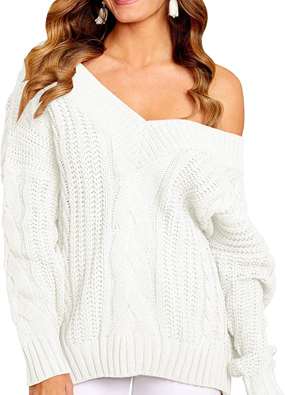 Valphsio Womens V Neck Cable Knit Sweater Off Shoulder Long Sleeve Valentines Jumper Pullover at Amazon Women's Clothing store