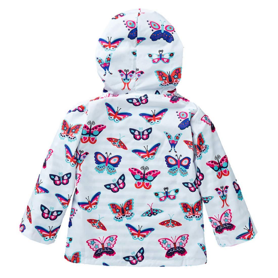 Inlefen Little Girls Child Hooded Jacket Outwear Rain Suit Coat Girls 2-8 Years