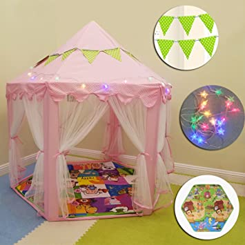 Princess Castle Tent Kids Play Tent Child Toddler Baby Big Indoor Playhouse for Girls - Pink & Amazon.com: Princess Castle Tent Kids Play Tent Child Toddler Baby ...