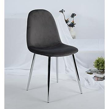 Set di 4 sedie Fanilife in morbido velluto, con sedile e schienale ...