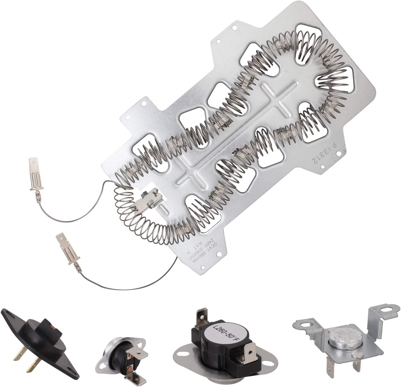 Dryer Heating Element for Samsung (DC47-00019A), Thermal Fuse (DC96-00887A and DC47-00016A), Dryer Thermistor (DC32-00007A), Thermostat (DC47-00018A) Dryer Repair Kit Replacement