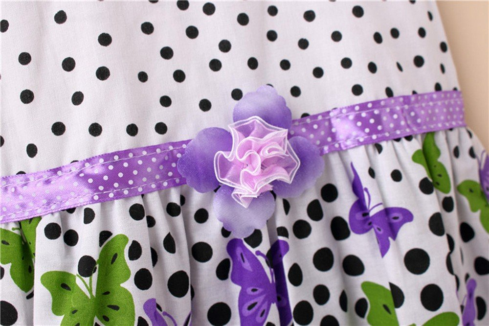 Newborn Toddler Baby Girls Dot Butterfly Print Flower CasualDress Clothes Purple by SERYU (Image #2)