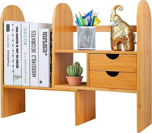 Natur Bambusholz Schreibtisch Organizer Bücherregal Mit 2 Schubladen Holzfarbe