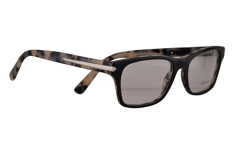 a645a1fdbd67 Amazon.com  Prada Journal PR16SV Eyeglasses 52-18-140 Top Black With White  Havana ROK1O1 VPR16S For Women  Clothing
