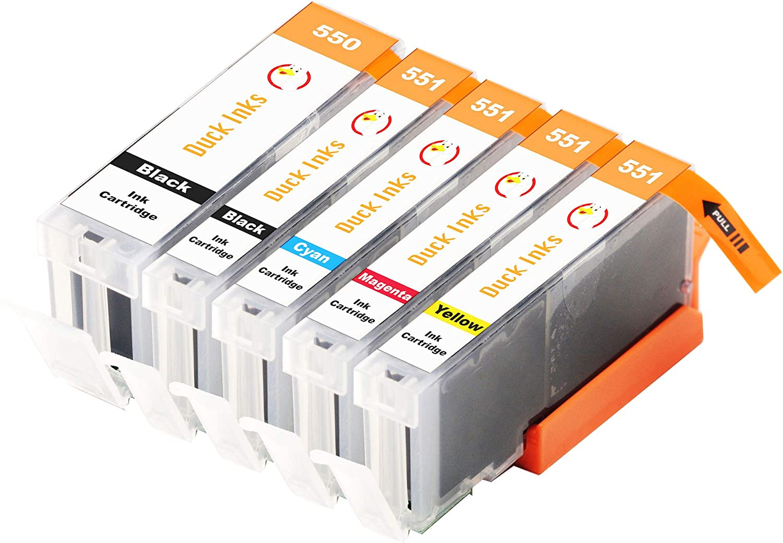 5 x XL Duck Inks Cartuchos de Tinta para Canon 550/551 Pixma IP ...