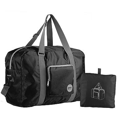 Wandf Foldable Travel Duffel Bag Luggage Sports Gym Water Resistant Nylon Black