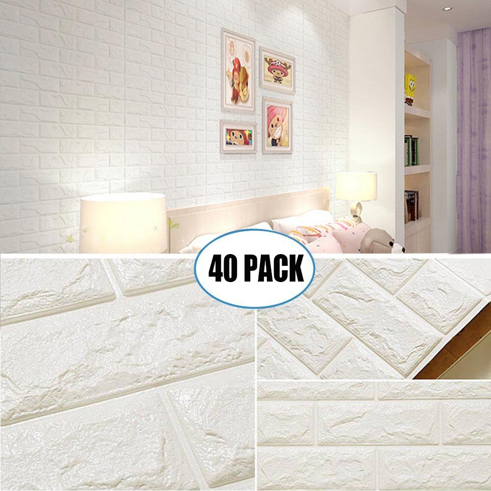 40 Pack White Brick Wallpaper Tiles, POPPAP Self-adhesive 3D Foam Wall Panels for Home Decor TV Walls kitchen bedroom living room Background Wall Decor ( 23.62''X 23.62'' inch)