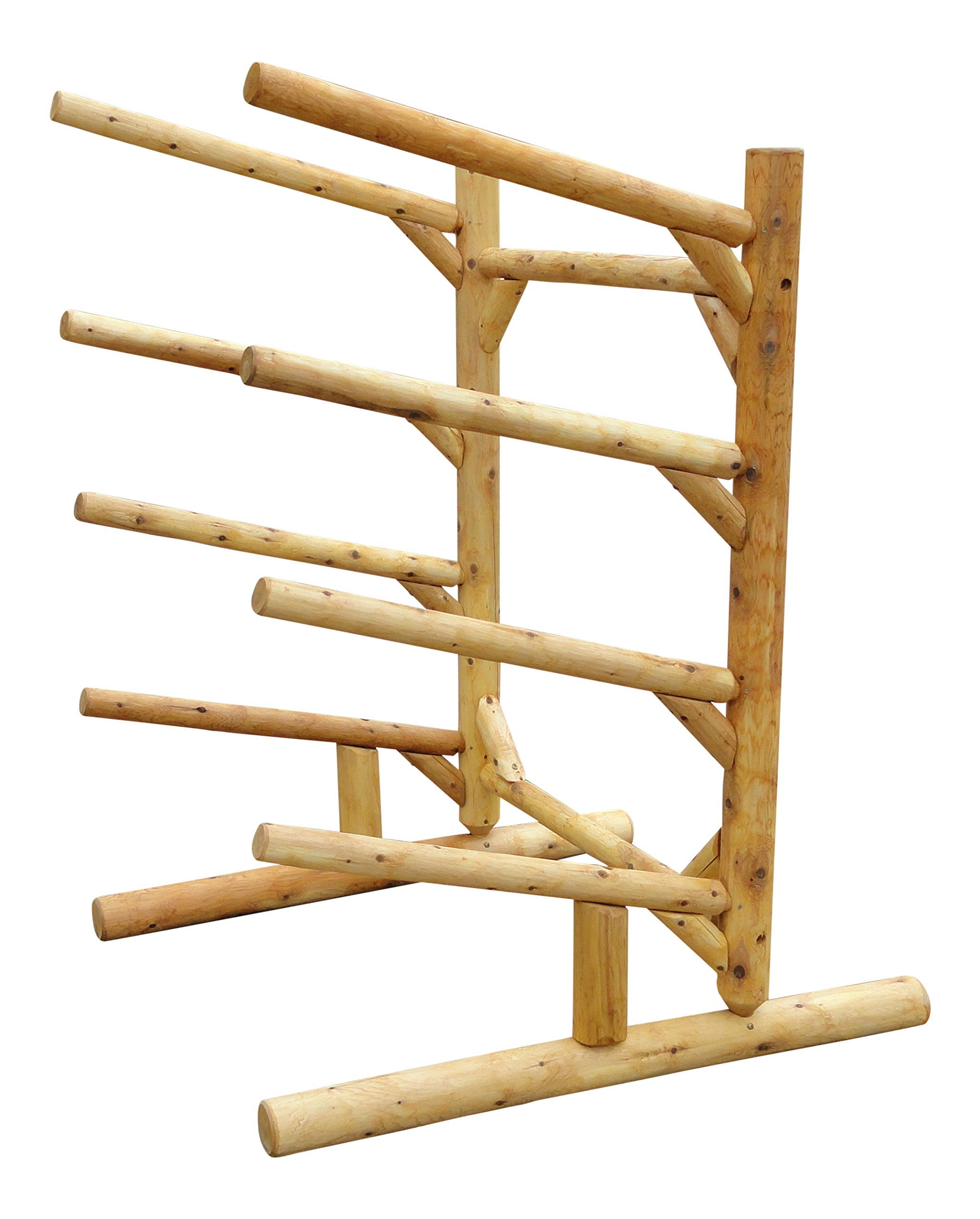 4 Place One Sided Kayak and SUP Rack Natural by Log Kayak Rack