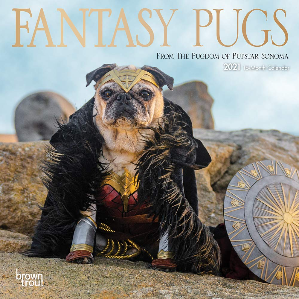 Fantasy Pugs 7 x 7 Mini 2021 Wall Calendar