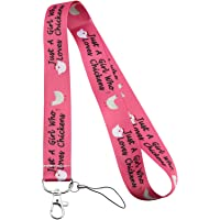 BEKECH Chicken Lovers Gift Just A Girl Who Loves Chicken Cute Chicken Pattern Lanyard ID Card Holder Keychain Clip Gift…