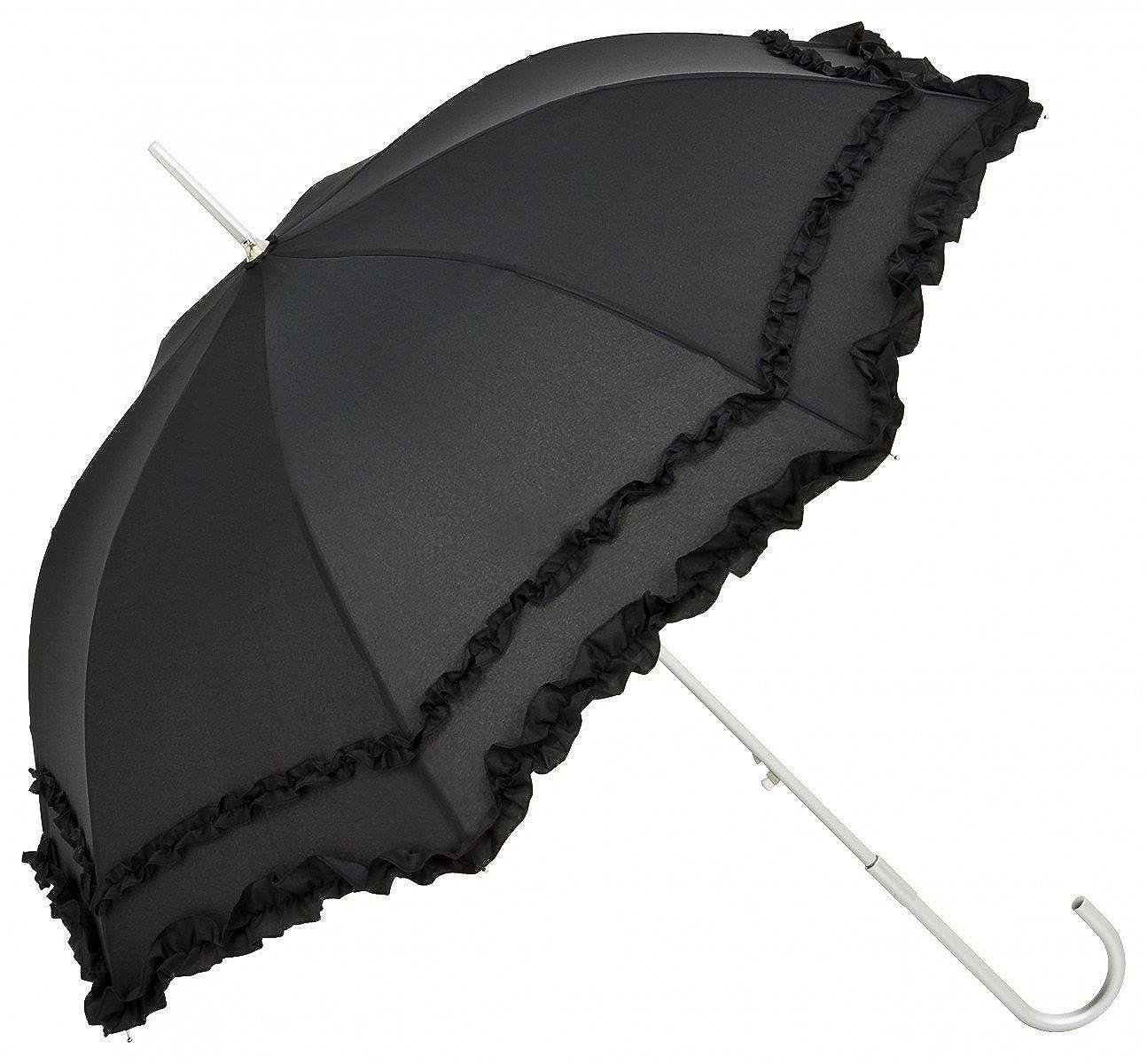 VON LILIENFELD Regenschirm Stockschirm Rüschen Damen Automatik