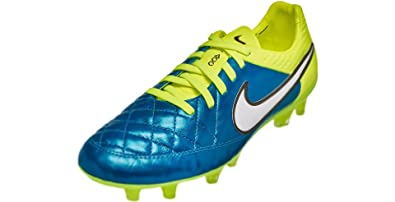 Nike Womens Tiempo Legend V FG Soccer Cleat (Blue Lagoon, Volt) Sz.