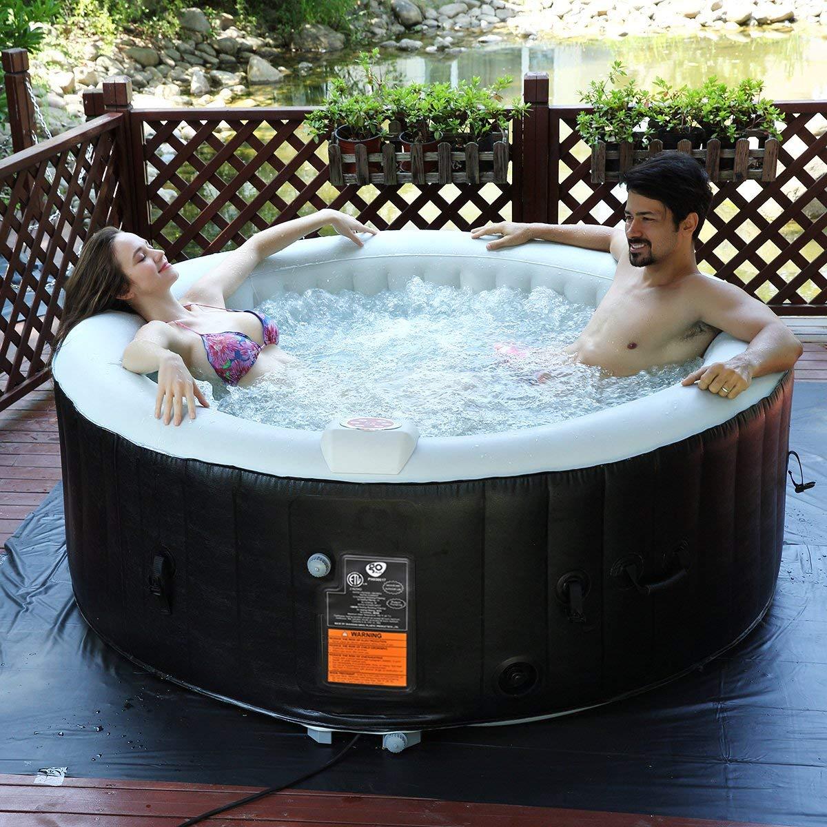 COSTWAY SPA Hinchable para 4 Personas 800 litros Ba/ñera Jacuzzi de Redondo