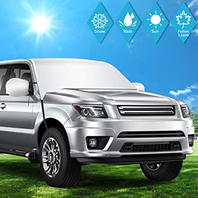 SHSTFD Car Window Cover Sun Shade, Outdoor Car Windshield Snow Ice Cover, Extra Large Size with Elastic Hooks Shade Waterproof Protection All Cars, Trucks, SUVs, MPVs: Automotive