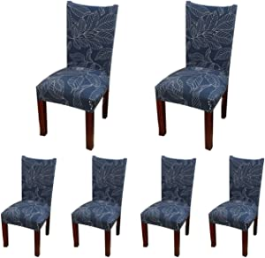 SoulFeel 6 x Soft Spandex Fit Stretch Short Dining Room Covers with Printed Pattern, Banquet Chair Seat Protector Slipcover for Home Party Hotel Wedding Ceremony (Style 11), Pack of 6,