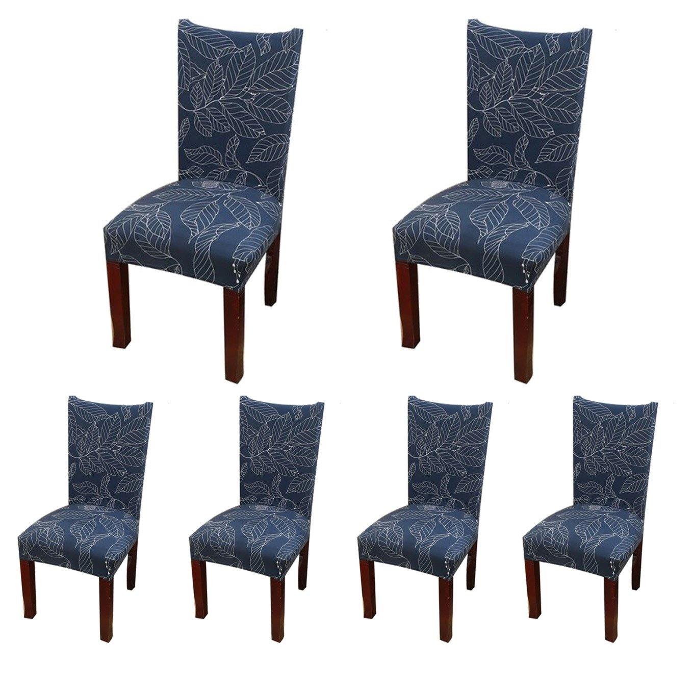 SoulFeel 6 x Soft Spandex Fit Stretch Short Dining Room Covers Printed Pattern, Banquet Chair Seat Protector Slipcover Home Party Hotel Wedding Ceremony, Pack of 6, Style 11