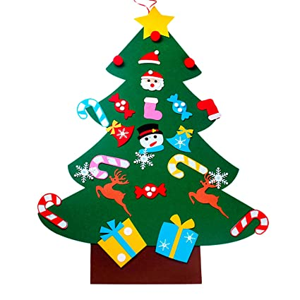 vlovelife 3ft kids diy felt christmas tree decorations xmas 26pcs detachable hanging ornaments home decor happy - Christmas Wall Hanging Decorations