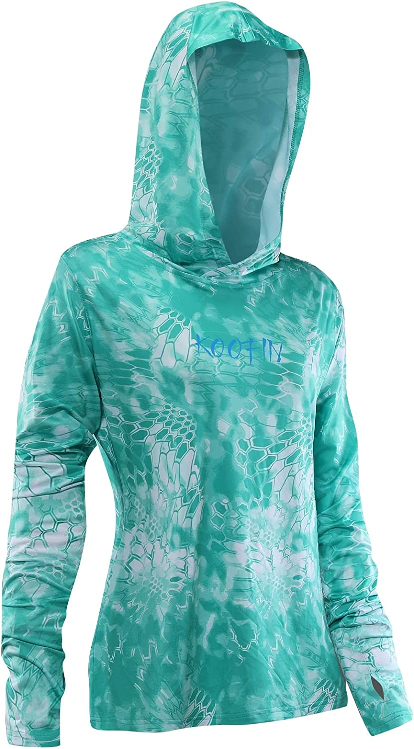KOOFIN GEAR Performance Fishing Hoodie Women's Long Sleeve Hooded Sunshirt Quick-Dry UPF50