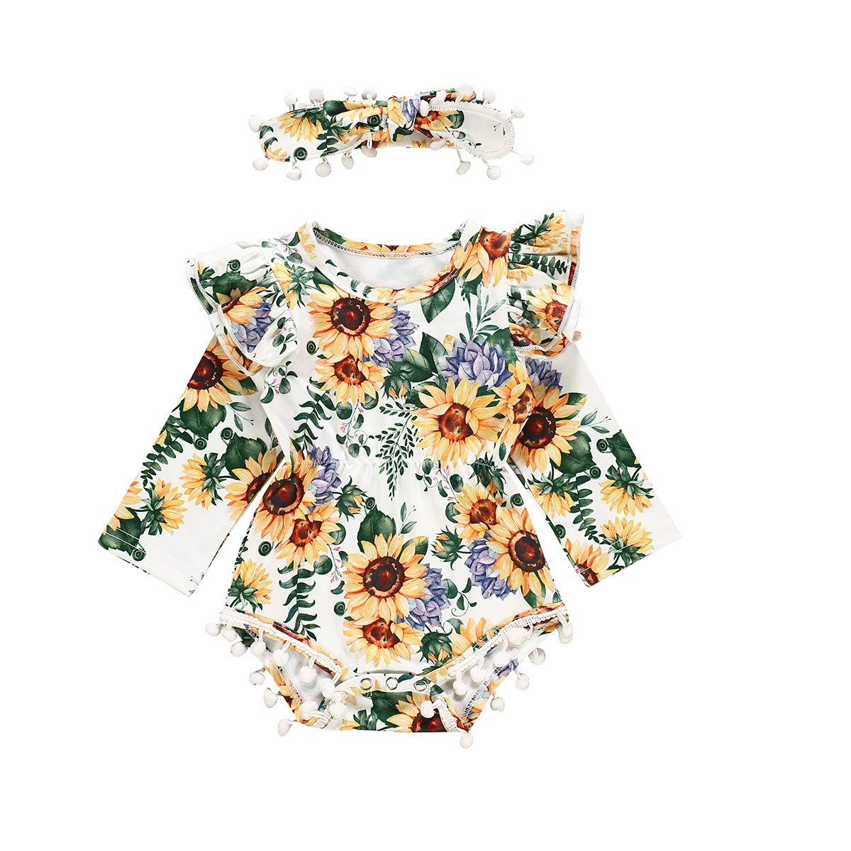 Baby Girls Sunflower Outfits Toddler Girl Long Sleeve Ruffle Romper with Headband Floral Clothes Set