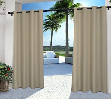 2 Pieces 108 Inch Taupe Color Gazebo Curtains Set Pair Light Brown Solid Pattern