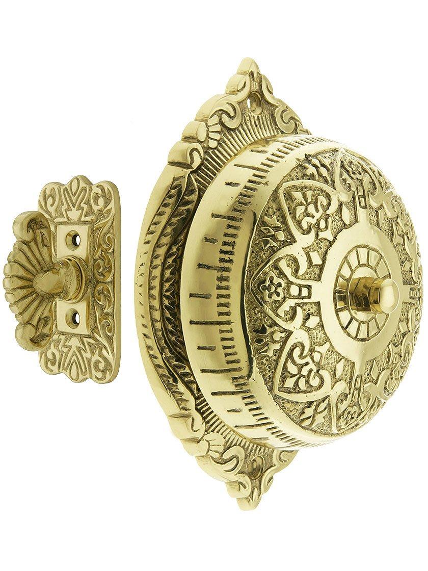 House of Antique Hardware R-06SE-0900007 Heart Design Mechanical Door Bell in Polished Brass