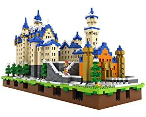 POCO DIVO Schloss Neuschwanstein German New Swan Stone Castle Micro Block Building Set (6800 pcs) - Deluxe Edition with LED Lights
