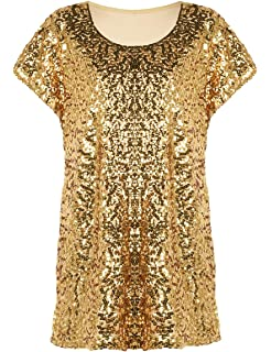 6106f016a455f PrettyGuide Women s Sequin Top Shimmer Glitter Loose Bat Sleeve Party Tunic  Tops