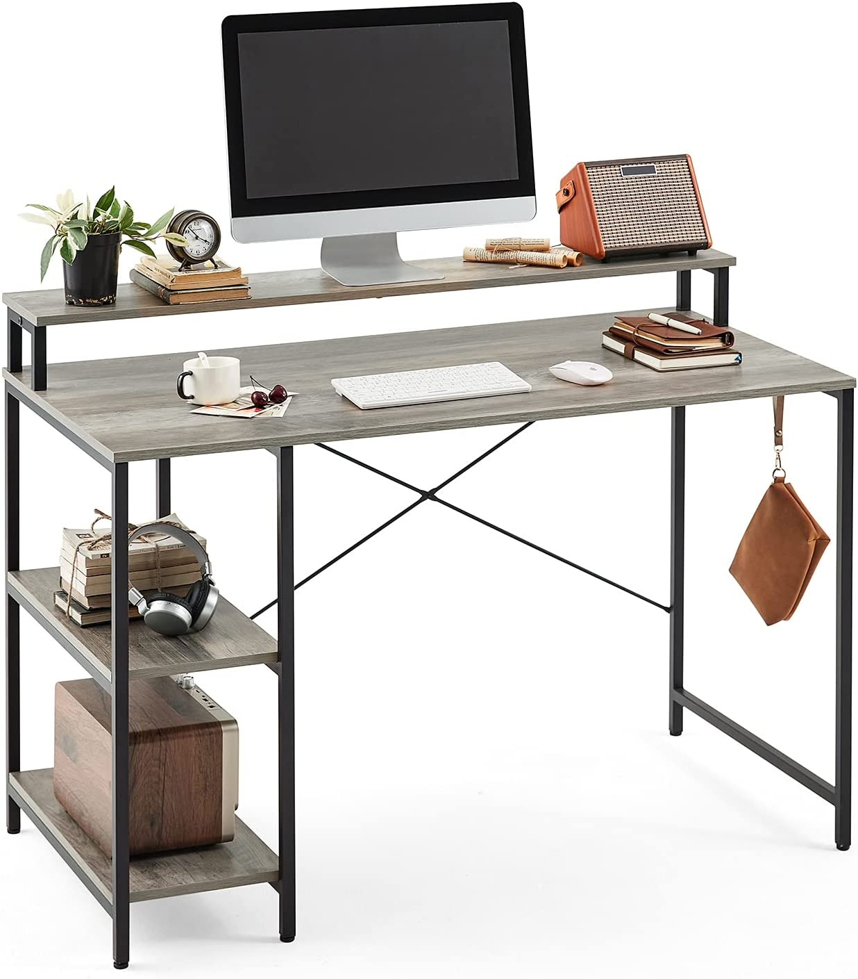 Linsy Home Computer Desk with Simple Shelves, 47 Inch Writing Laptop Table for Office Home Small Space, LS209V2-B with Monitor Stand, Grey